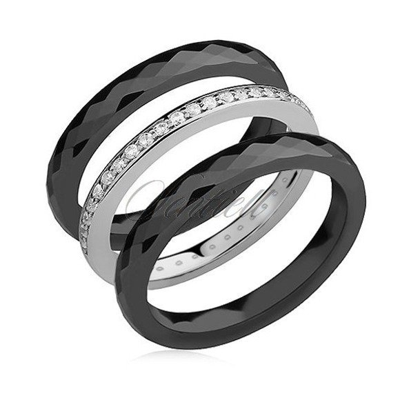 Ceramic black rings and silver (925) ring with white zirconia