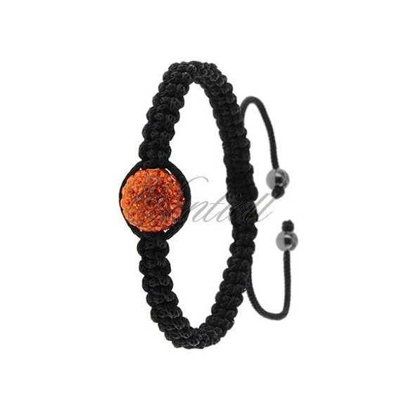 Rope bracelet (925) orange 1 disco ball