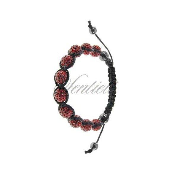 Rope bracelet (925) red and hematite
