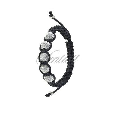 Rope bracelet (925) white 5 disco balls classic