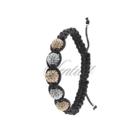 Rope bracelet (925) white & light brown 5 disco balls