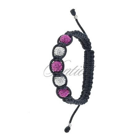 Rope bracelet (925) white & pink 5 disco balls