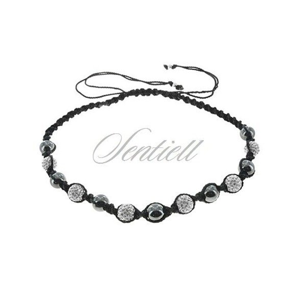 Rope necklace (925) white disco balls and hematite