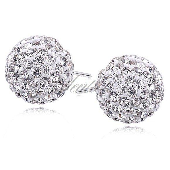 Silver (925) Earrings disco ball 12mm white