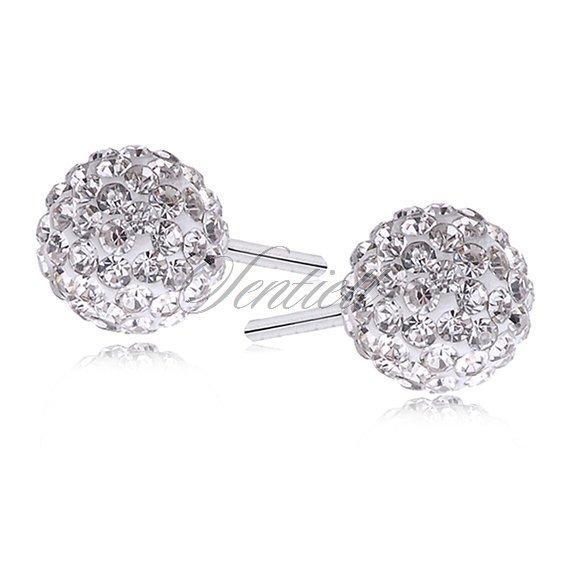 Silver (925) Earrings disco ball 6mm white