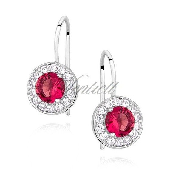 Silver (925) Earrings ruby colored zirconia