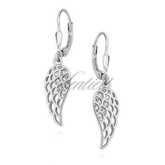Silver (925) Earrings - wings with white zirconia
