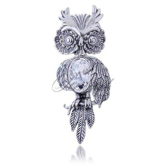 Silver (925) Owl pendant with zirconia