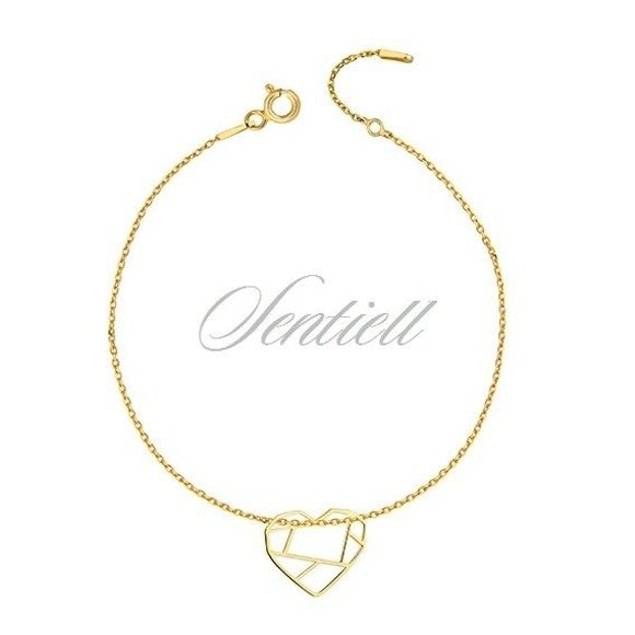 Silver (925) bracelet - Origami heart gold-plated