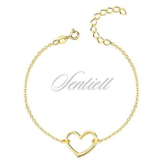 Silver (925) bracelet of celebrities with heart, gold-plated
