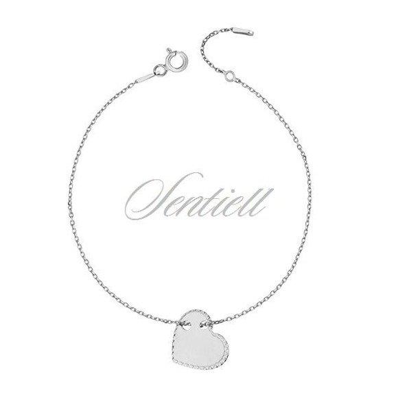 Silver (925) bracelet with diamond-cut heart pendant