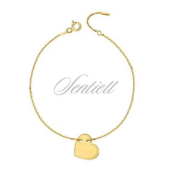 Silver (925) bracelet with diamond-cut heart pendant - gold-plated