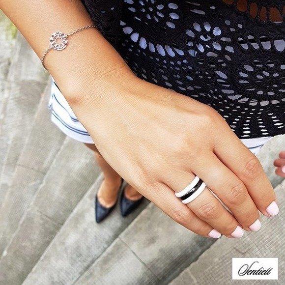 Silver (925) bracelet with open-work pendant - hearts