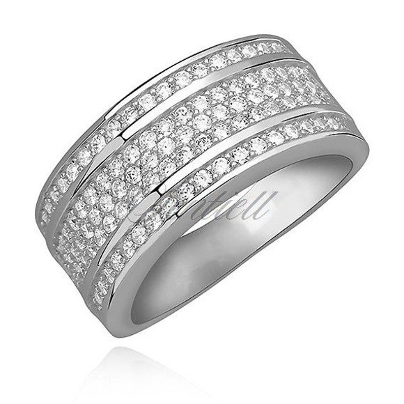 Silver (925) brilliant ring with white zirconia