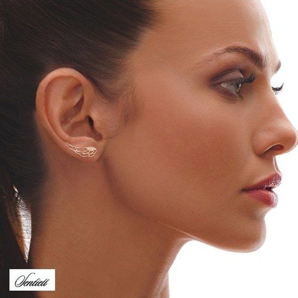 Silver (925) cuff earrings - wings with zirconia, gold-plated