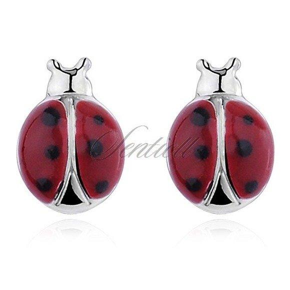 Silver (925) earrings - enamelled ladybugs