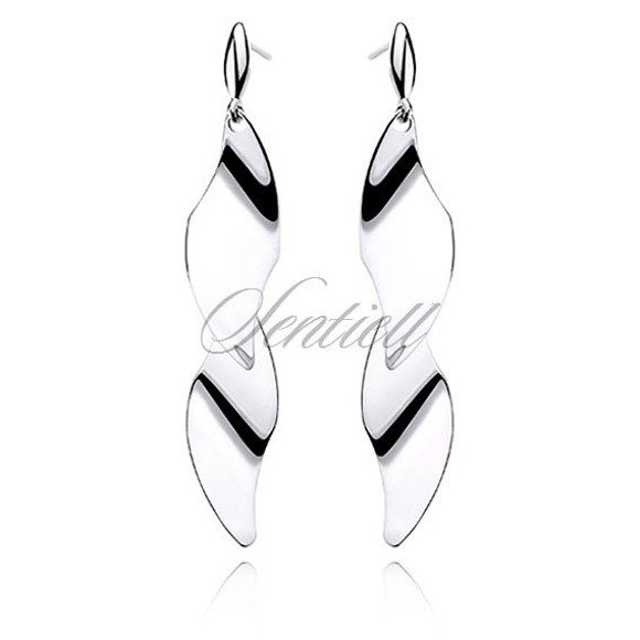 Silver (925) earrings highly polished - 2 leaves