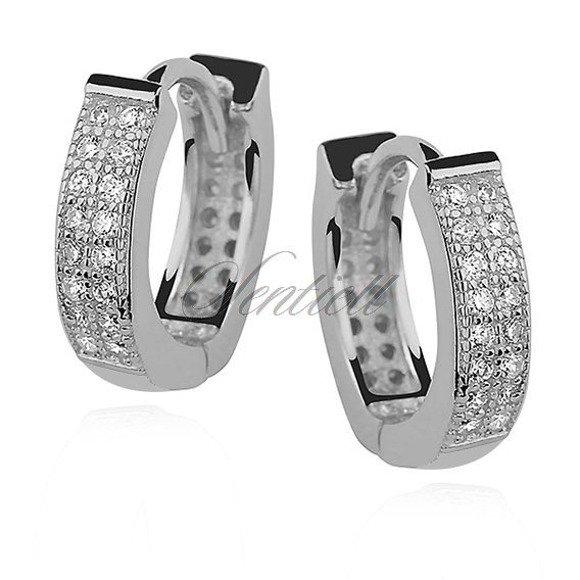 Silver (925) earrings hoop with zirconia