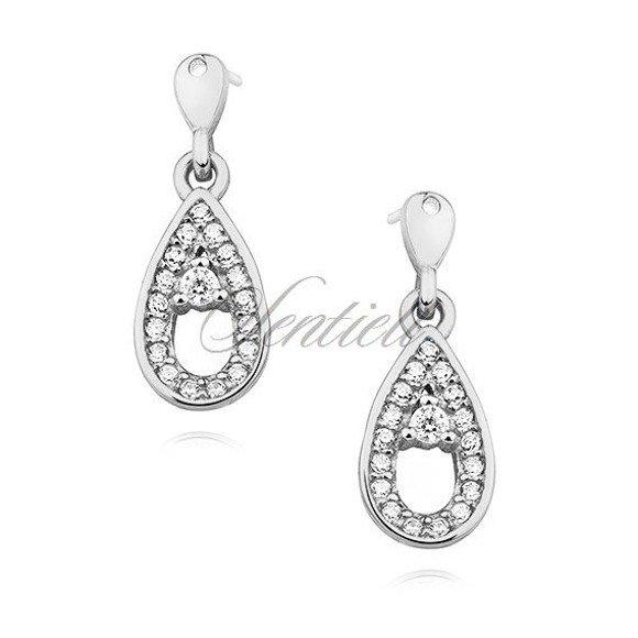Silver (925) earrings - teardrop with zirconia