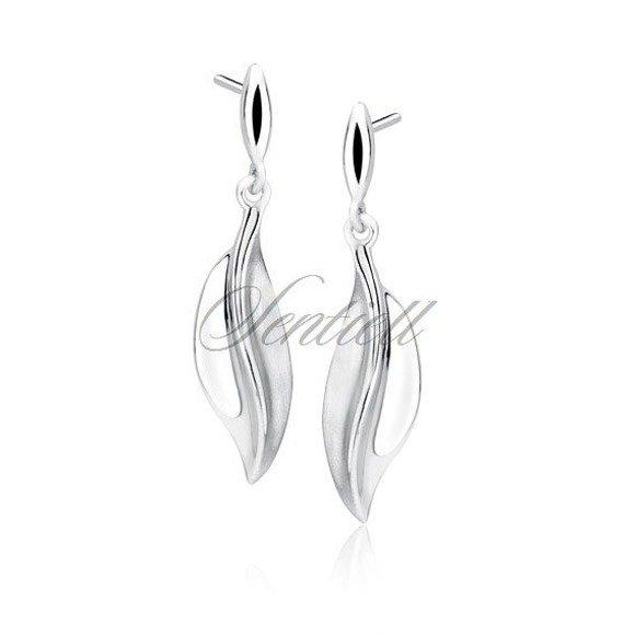 Silver (925) elegant earrings - leaf