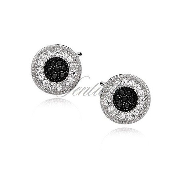 Silver (925) elegant round earrings with white and black zirconia