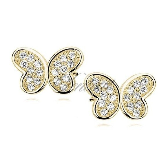 Silver (925) gold-plated butterfly earrings with zirconia