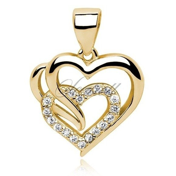 Silver (925) gold-plated pendant white zirconia - heart triple