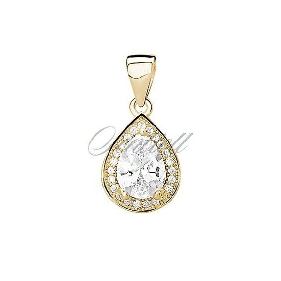 Silver (925) gold-plated pendant with white zirconia