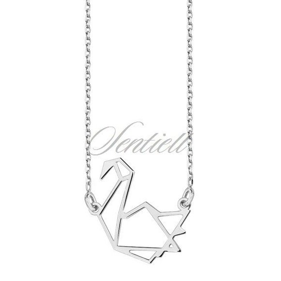 Silver (925) necklace - Origami swan