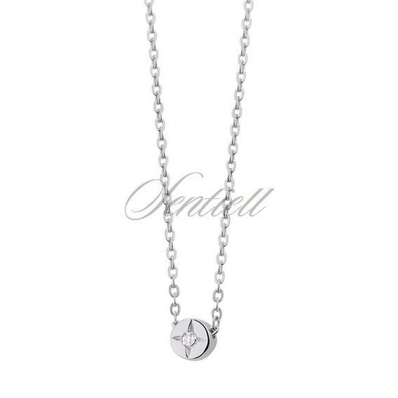 Silver (925) necklace with round white zirconia pendant
