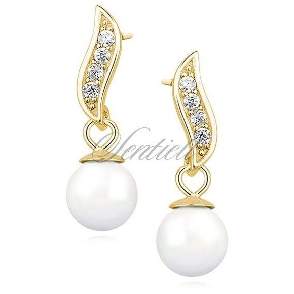 Silver (925) pearl earrings with zirconia
