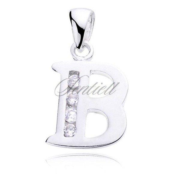 Silver (925) pendant white zirconia - letter B