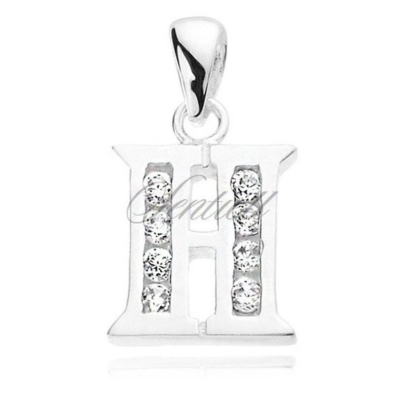 Silver (925) pendant white zirconia - letter H