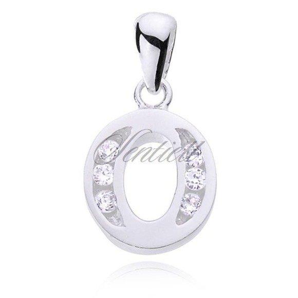 Silver (925) pendant white zirconia - letter O