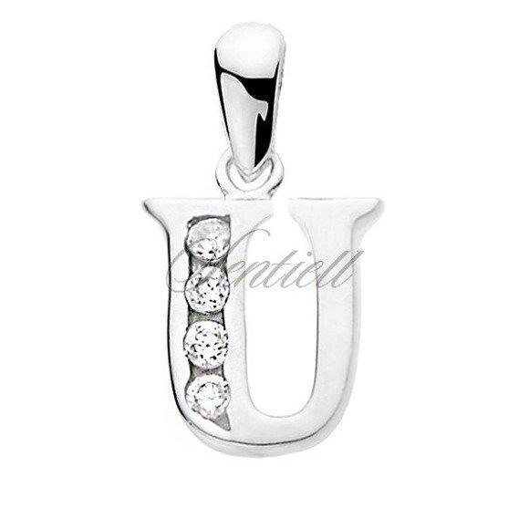 Silver (925) pendant white zirconia - letter U