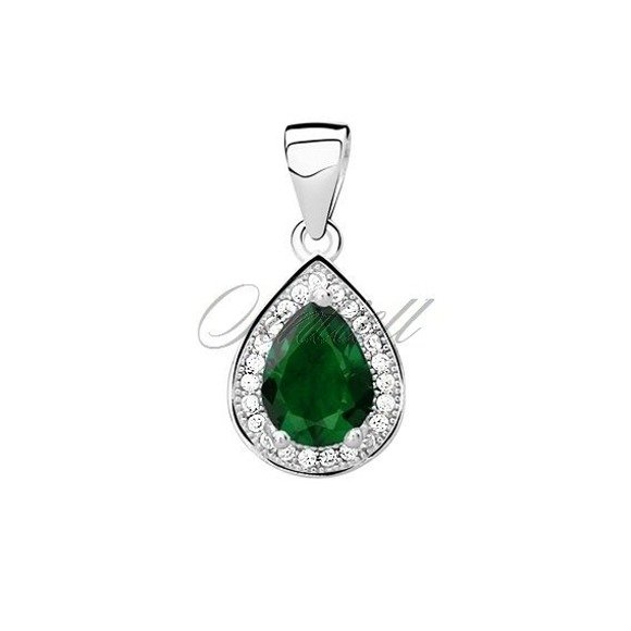 Silver (925) pendant with emerald zirconia
