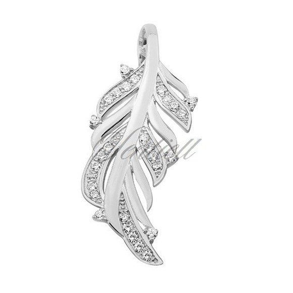Silver (925) pendant with zirconia - feather