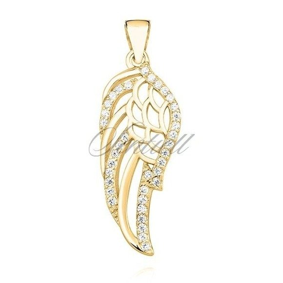 Silver (925) pendant with zirconia - wing gold-plated
