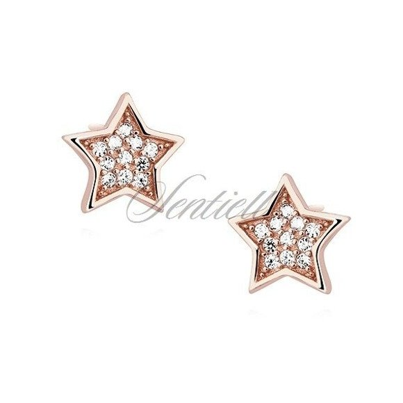 Silver (925) stars earrings with zirconia - rose gold-plated