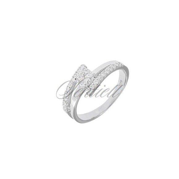 Srebrny pierścionek pr.925 Cyrkonia biała rodowany