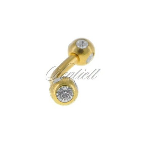 Stainless steel (316L) banana piercing for eyebrow - golden balls with zirconia
