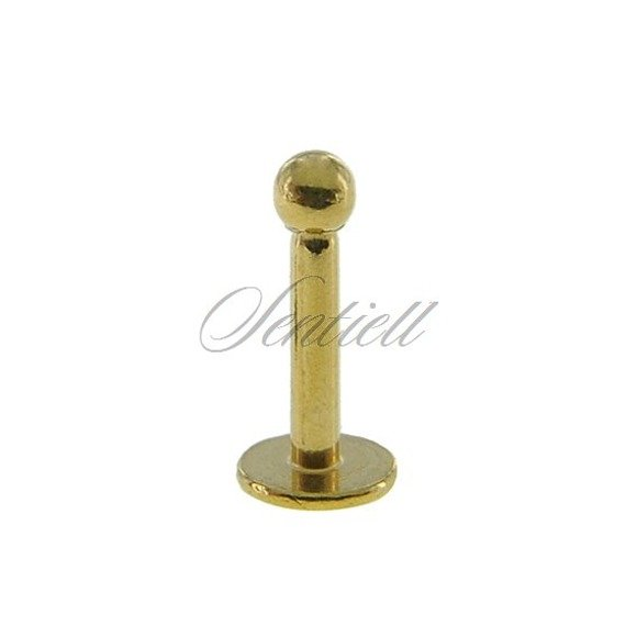 Stainless steel (316L) labret piercing with ball - for lips and chin - golden