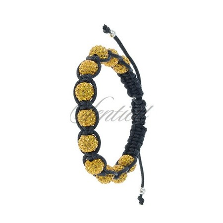 Bransoletka sznurkowa pr.925 Żółta 11 kulek