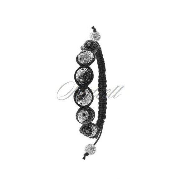 Bransoletka sznurkowa pr.925 biała z czarnym wzorem ying yang