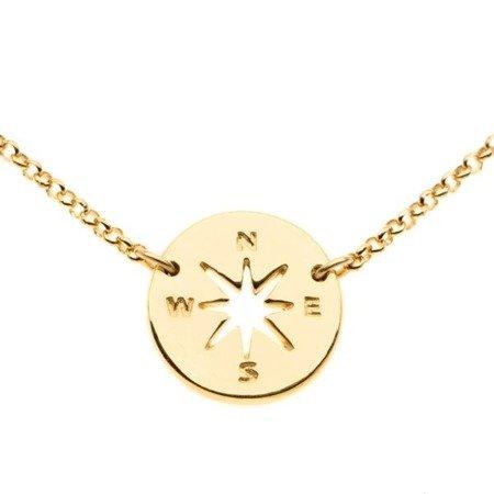 Compass - Róża Wiatrów naszyjnik srebrny pozłacany