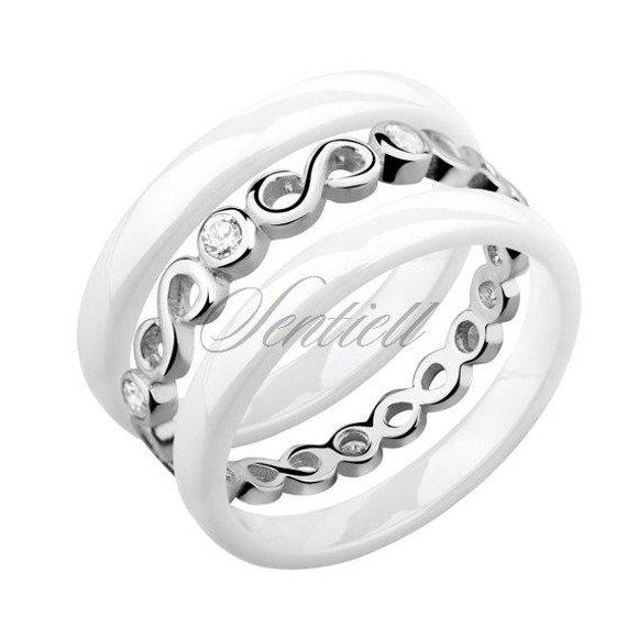 Pierścionki ceramiczne dwa białe 3mm i srebrny z cyrkoniami z nieskończonością