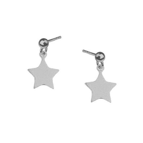 Gwiazdki na kółkach kolczyki srebrne