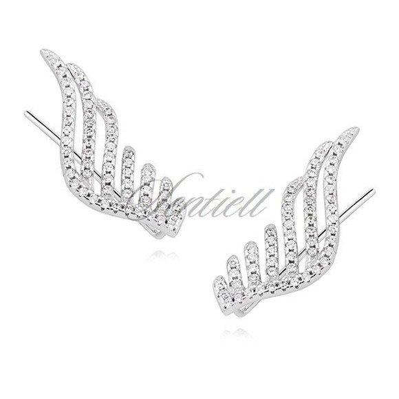 Kolczyki nausznice ozdobne duże skrzydła z cyrkoniami pr.925