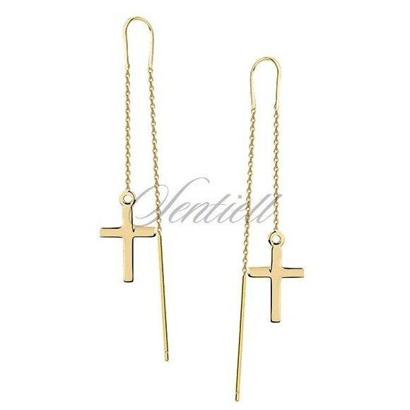 Kolczyki pozłacane przeciągane krzyże krzyżyki srebro pr.925