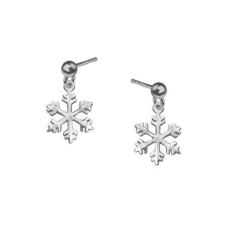 Kolczyki srebrne sztyfty płatki śniegu śnieżynki srebro pr.925
